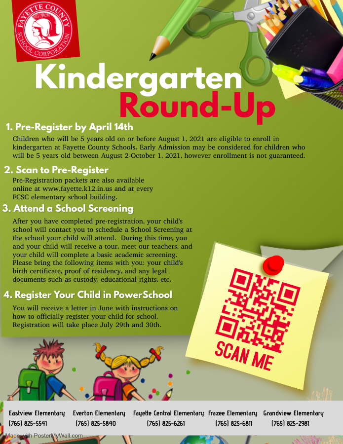 FCSC Kindergarten Registration Flyer